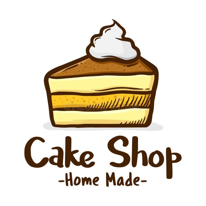 蛋糕Sllice与奶油色例证象商标的 向量例证