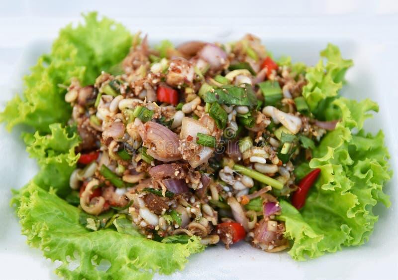 蛋蚂蚁混合辣食物 免版税库存图片