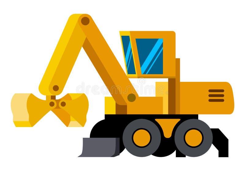 蛤壳状机件桶被转动的挖掘机minimalistic象 皇族释放例证