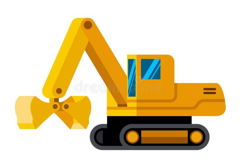 蛤壳状机件桶跟踪了挖掘机minimalistic象 向量例证