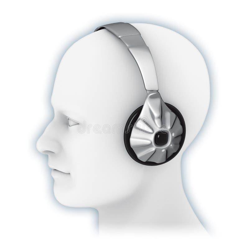 蛤壳状机件耳机 皇族释放例证