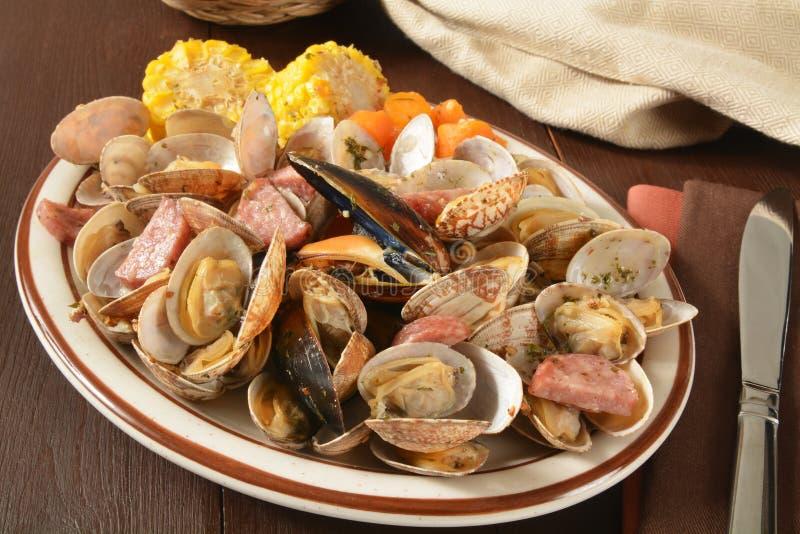 蛤蜊烘烤 图库摄影