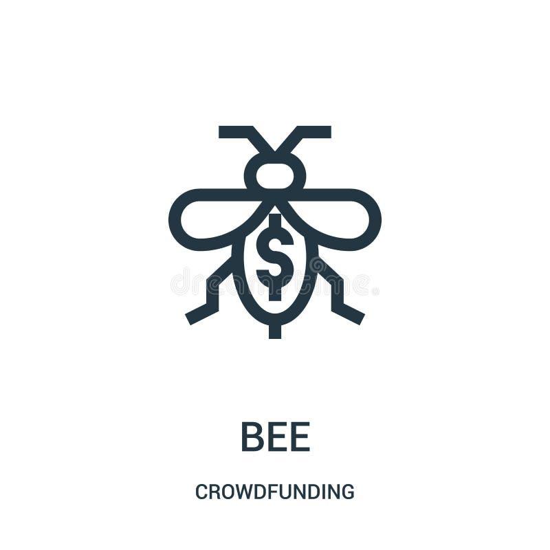 蜂从crowdfunding的收藏的象传染媒介 稀薄的线蜂概述象传染媒介例证 向量例证