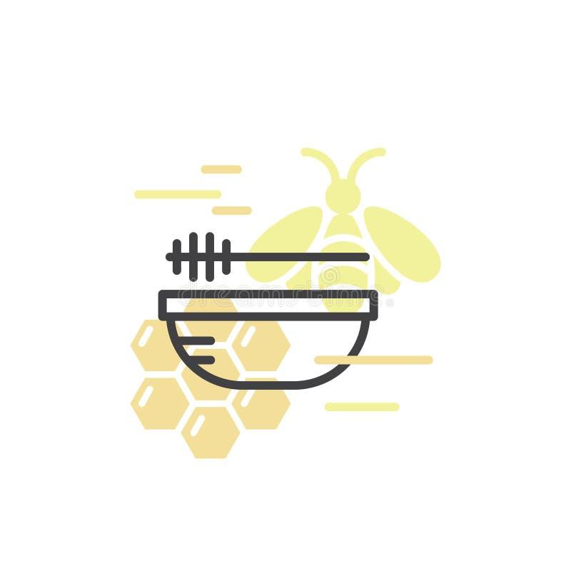 蜂农场、蜂蜜产品、商店或者市场 向量例证
