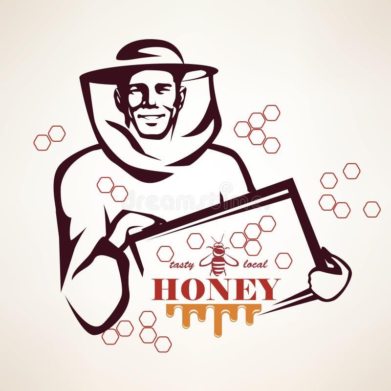 蜂农风格化传染媒介标志 向量例证