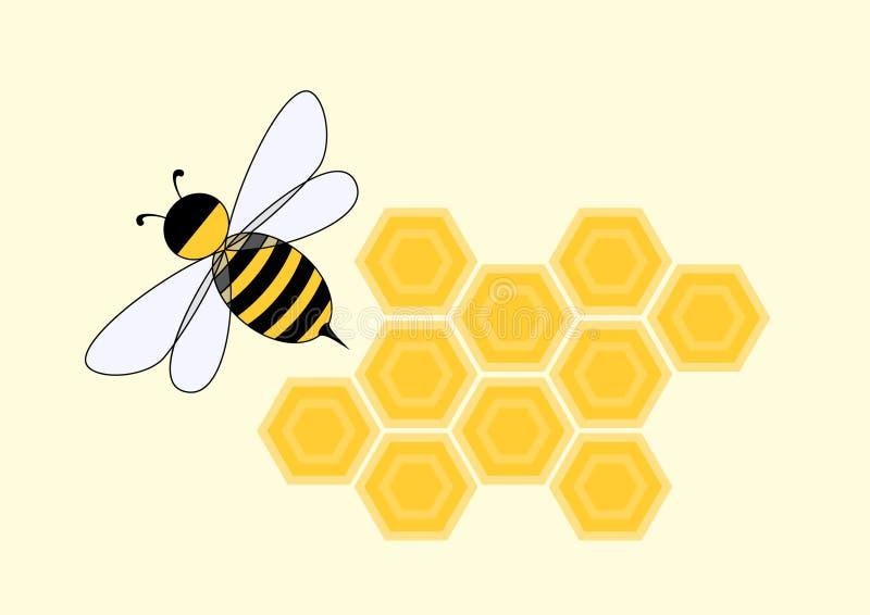 蜂动画片蜂窝 免版税库存图片