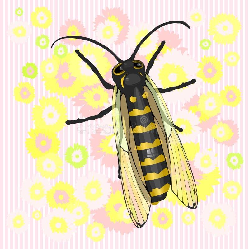 蜂和花 舞蹈 向量例证