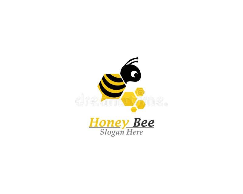蜂和蜂蜜商标模板 库存例证