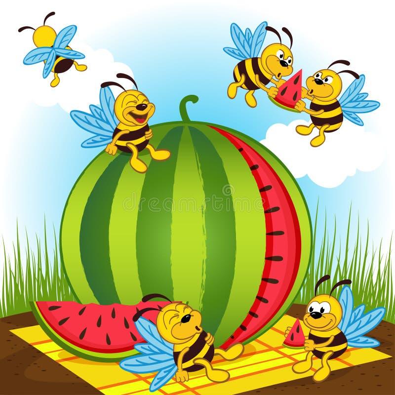 蜂和西瓜 库存例证