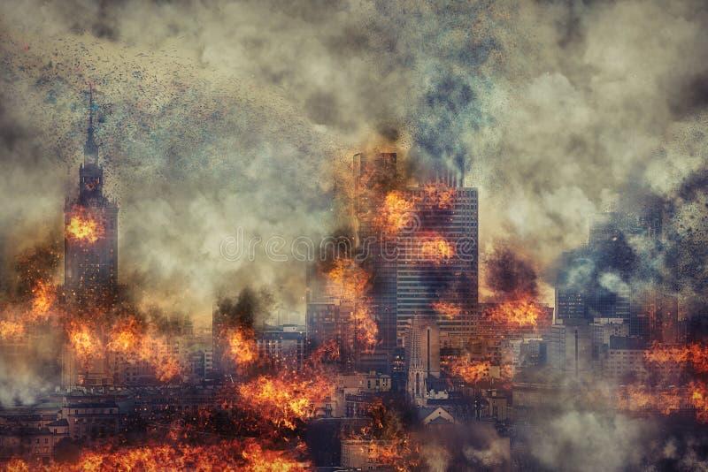 养蜂家 灼烧的城市,抽象视觉 免版税库存照片