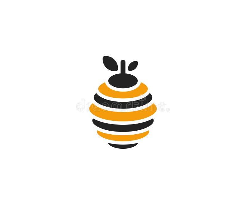 蜂房商标模板 蜂箱传染媒介设计 库存例证