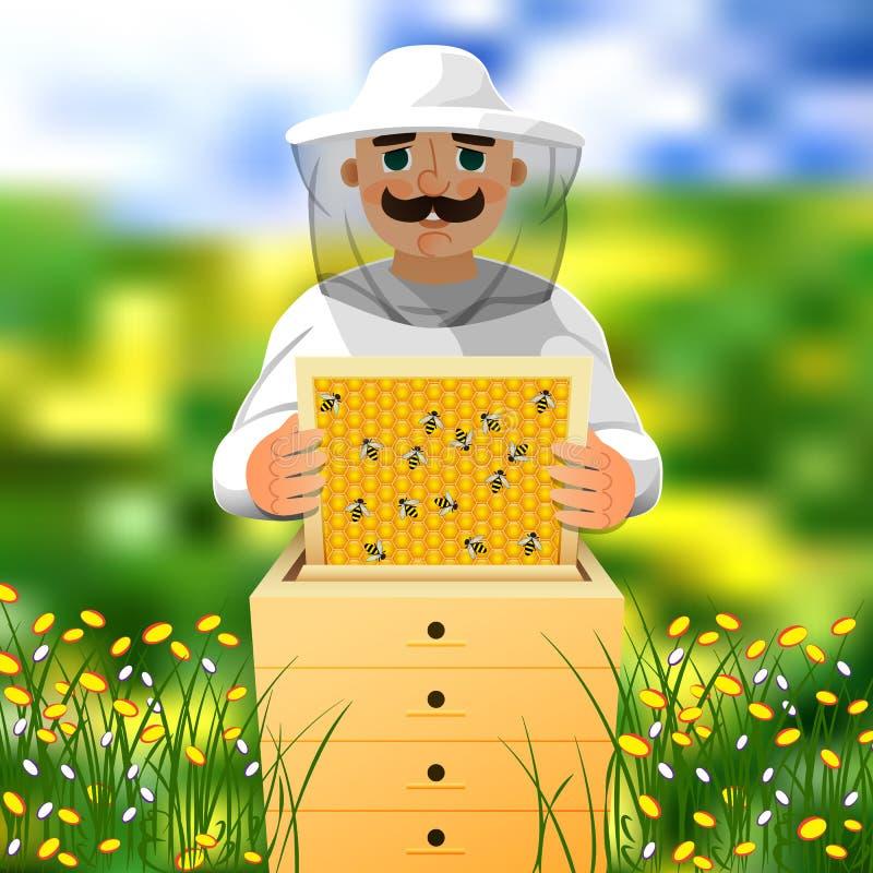 蜂房的蜂农 一套白色蜂农衣服的一个人在蜂箱附近工作 在一个开花的草甸的晴朗的夏日 向量例证