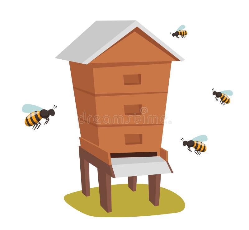 蜂房蜂蜜养蜂场蜂房传染媒介例证 向量例证