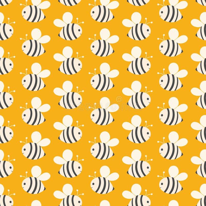 蜂无缝的几何重复在黄色背景的 孩子的甜手拉的传染媒介传粉者设计理想 库存例证