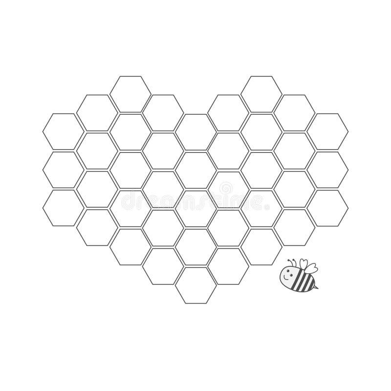 蜂昆虫动物 在心脏形状设置的蜂窝  蜂箱元素 蜂蜜象 奶油被装载的饼干 平的设计 库存例证