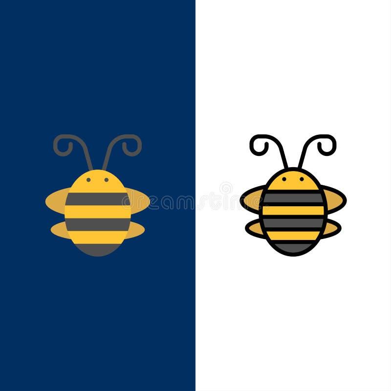 蜂昆虫,甲虫,臭虫,瓢虫,瓢虫象 舱内甲板和线被填装的象设置了传染媒介蓝色背景 库存例证