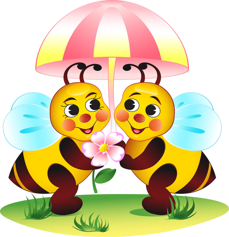 蜂春天 向量例证