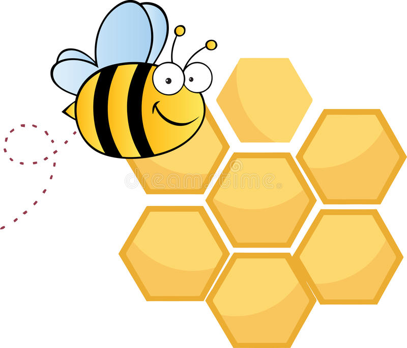 蜂梳愉快的蜂蜜  皇族释放例证