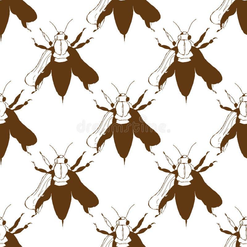 蜂的例证 松鸡爱本质歌曲通配木头 蜂群 无缝的模式 库存例证
