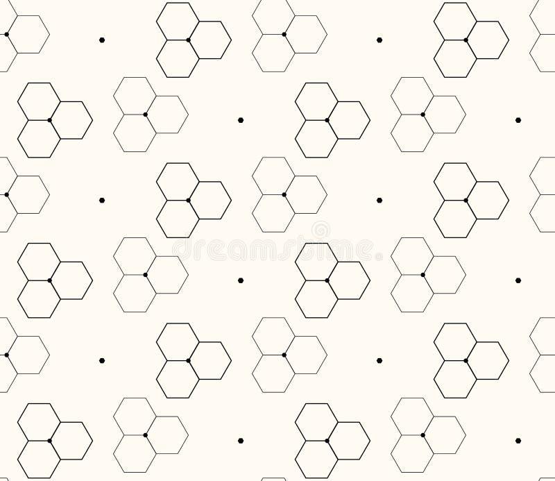 蜂窝或分子背景,无缝的六角形样式,例证 库存例证