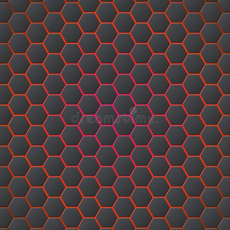 蜂窝提取3d与蓝色电光的六角无缝的背景 在红色背景的金属六角形 皇族释放例证