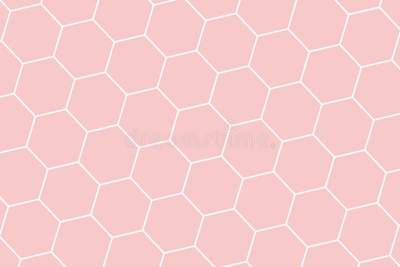 蜂窝栅格瓦片无缝的背景或六角细胞纹理 在软的颜色珊瑚礁样式 皇族释放例证