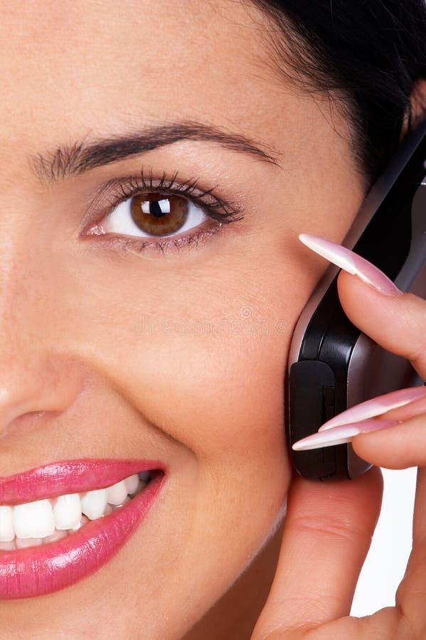蜂窝电话妇女 免版税库存照片
