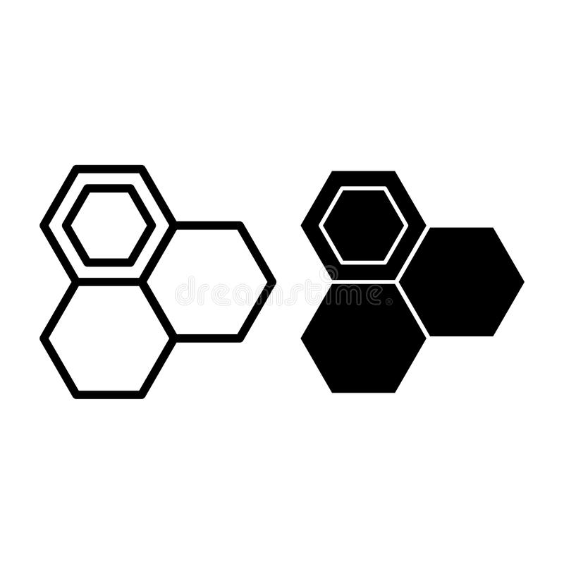 蜂窝线和纵的沟纹象 蜂蜜细胞在白色隔绝的传染媒介例证 蜂蜂窝植物概述样式 库存例证