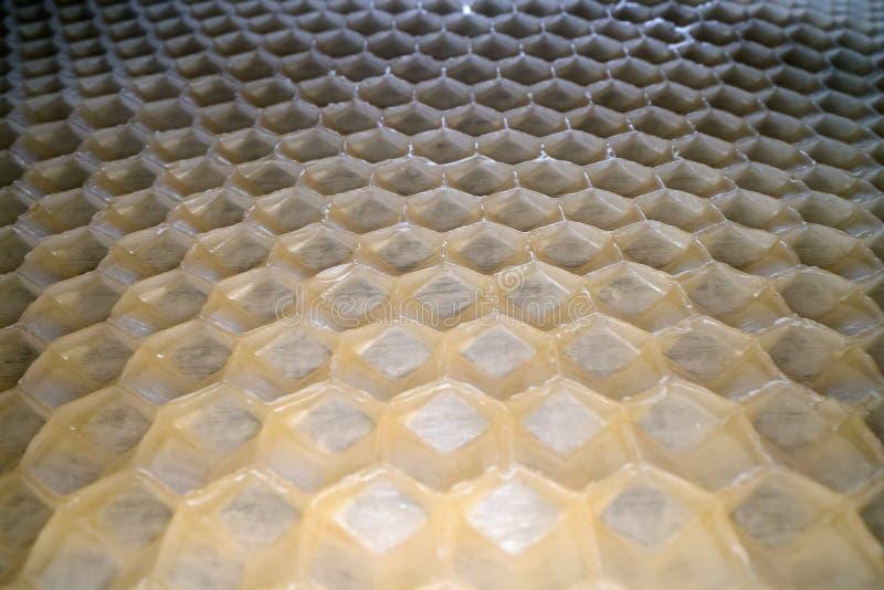 蜂窝蜡广角宏观射击  蜂蜜梳子六角形形状样式抽象看法  免版税库存照片