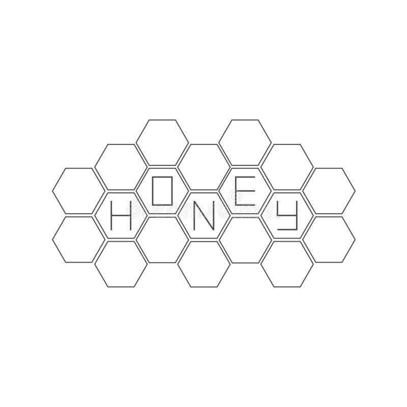 蜂窝集合 蜂箱元素 蜂蜜文本象 奶油被装载的饼干 平的设计 皇族释放例证