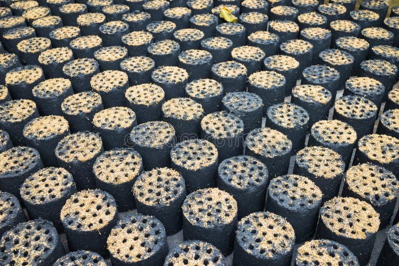 蜂箱型煤炭在越南编结,便宜的家庭烹饪能源 库存图片