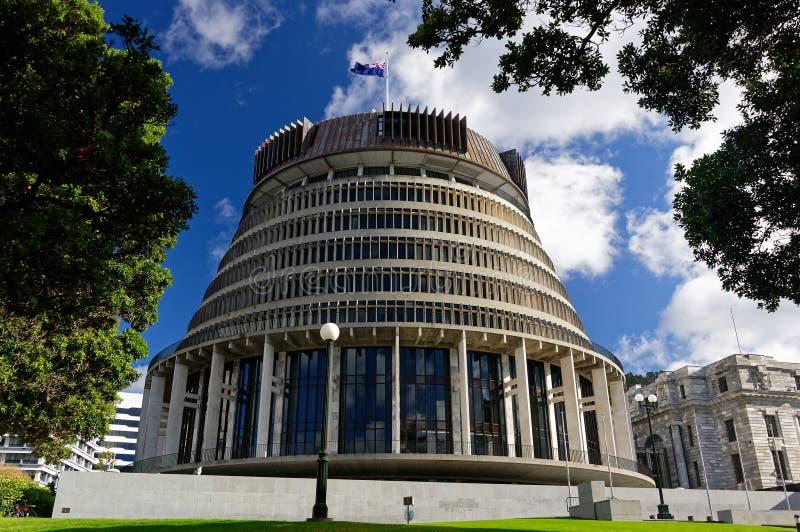 蜂箱,新西兰的与新西兰旗子飞行的议会大厦反对天空蔚蓝 免版税库存照片