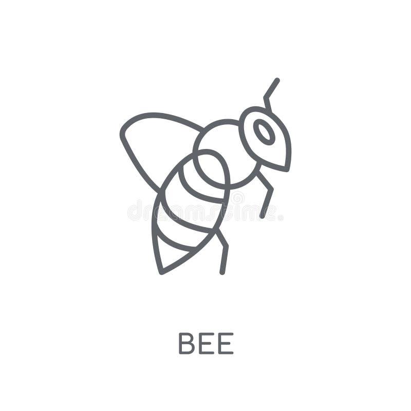 蜂线性象 在白色backgr的现代概述蜂商标概念 皇族释放例证