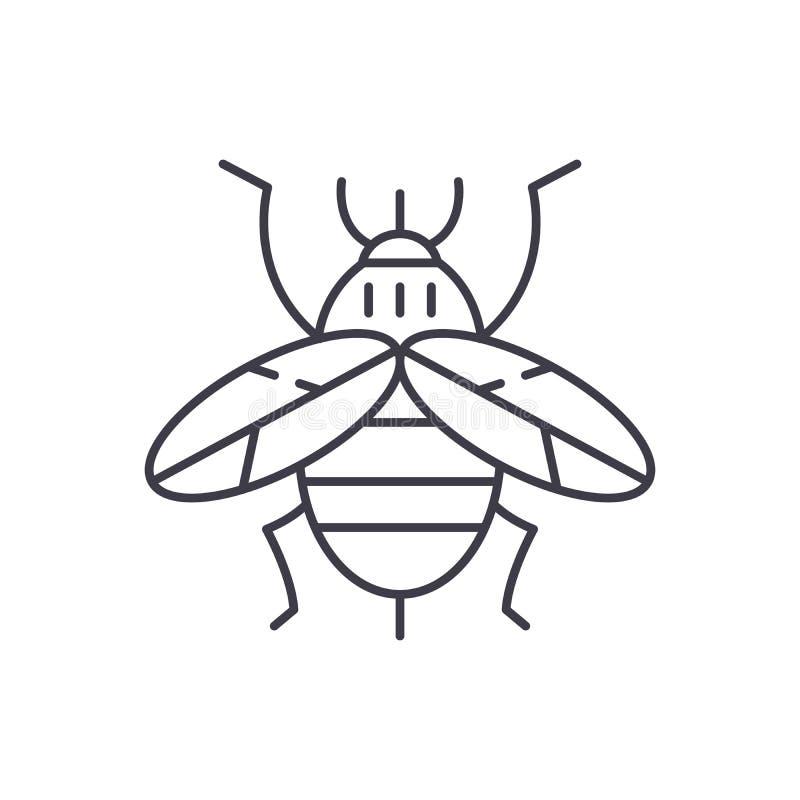 蜂线象概念 蜂传染媒介线性例证,标志,标志 库存例证