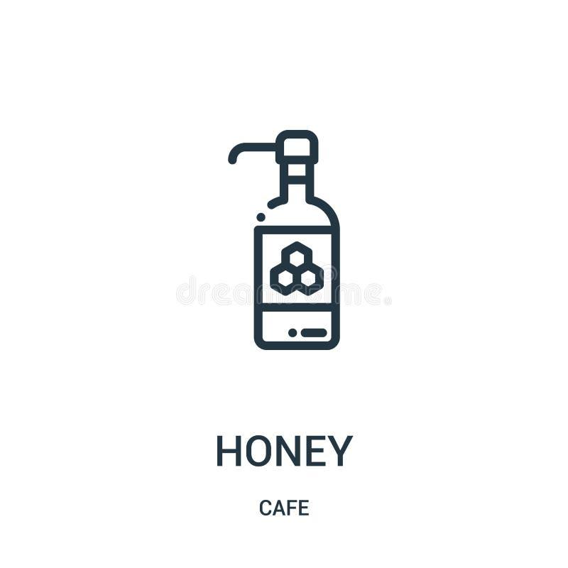 蜂蜜从咖啡馆汇集的象传染媒介 稀薄的线蜂蜜概述象传染媒介例证 r 向量例证