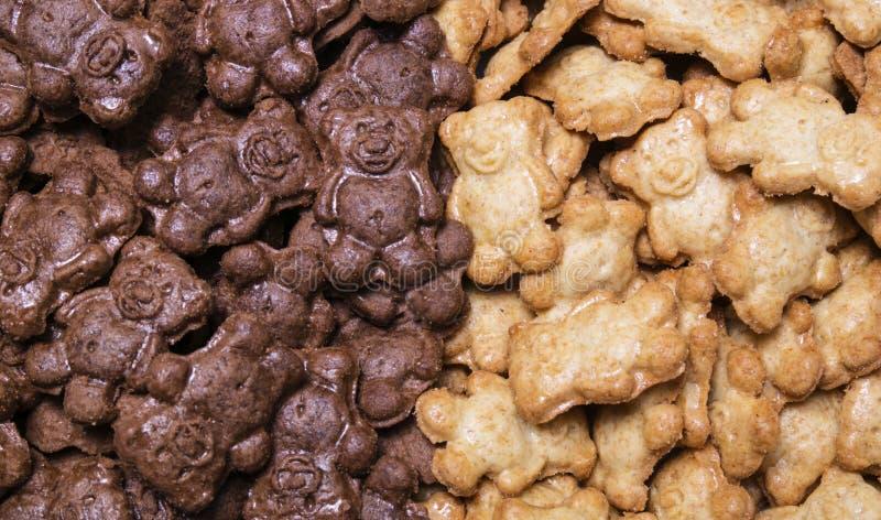 蜂蜜和巧克力曲奇饼负担背景,背景 免版税库存照片