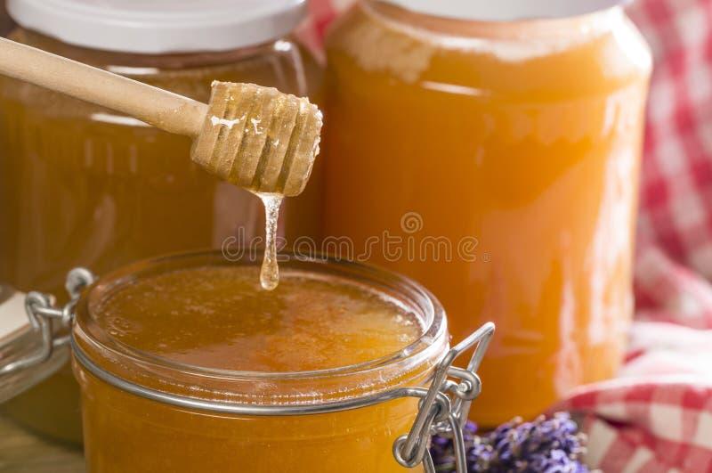 蜂蜜和瓶子用蜂蜜 免版税库存图片