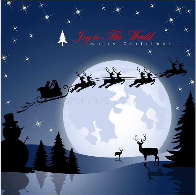 蜂蜜在圣诞老人的雪橇的恋人飞行 库存例证