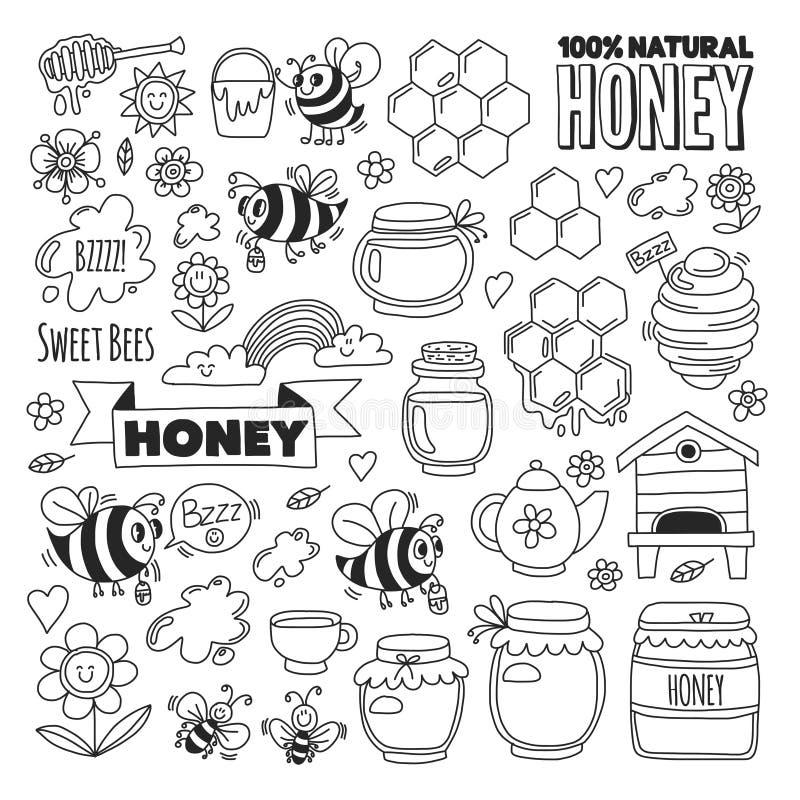 蜂蜜市场,义卖市场,蜂,花,瓶子,蜂窝,蜂箱,斑点,有字法的小桶蜂蜜公平的乱画图象  皇族释放例证