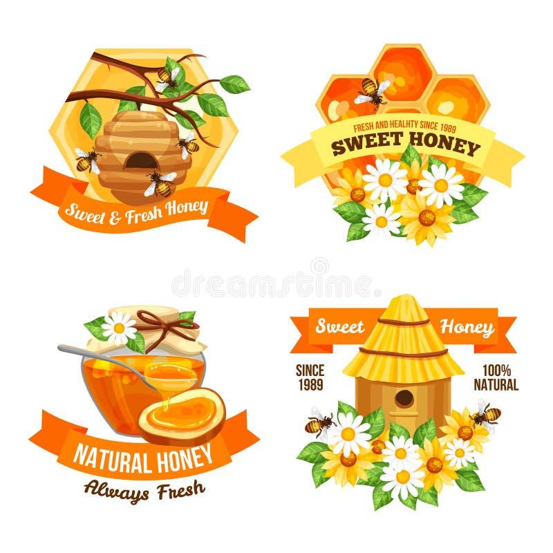蜂蜜广告标签 皇族释放例证