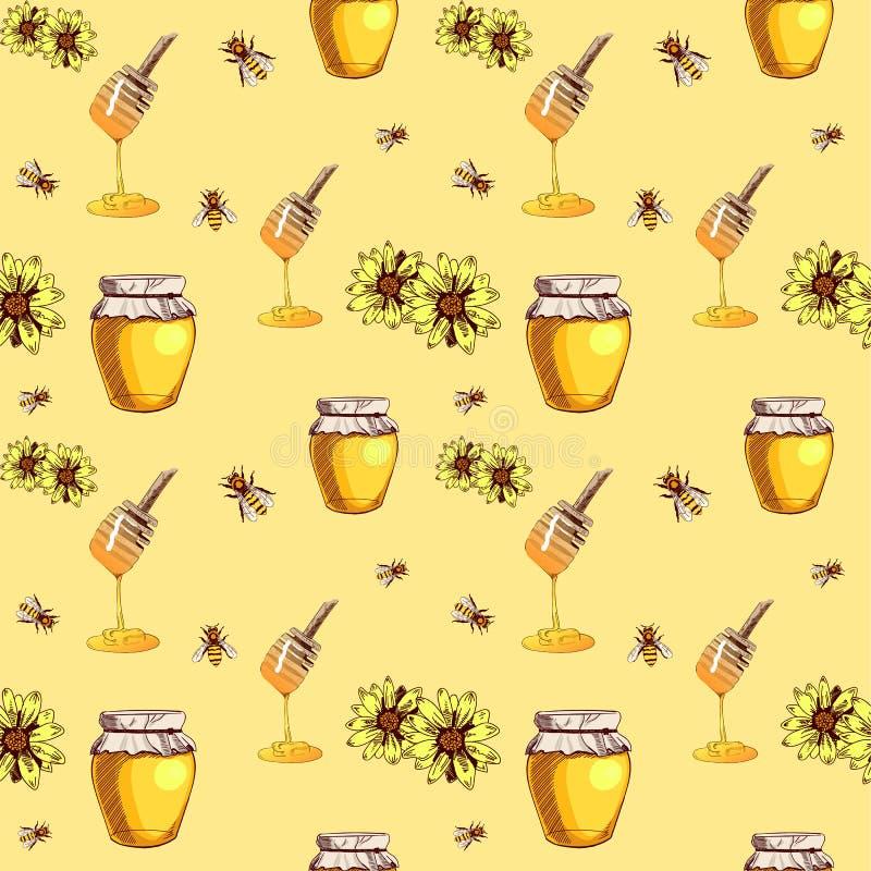 蜂蜜无缝的传染媒介样式、黄色背景与蜂蜜匙子,瓶子蜂蜜,蜂和花,彩色插图 库存例证
