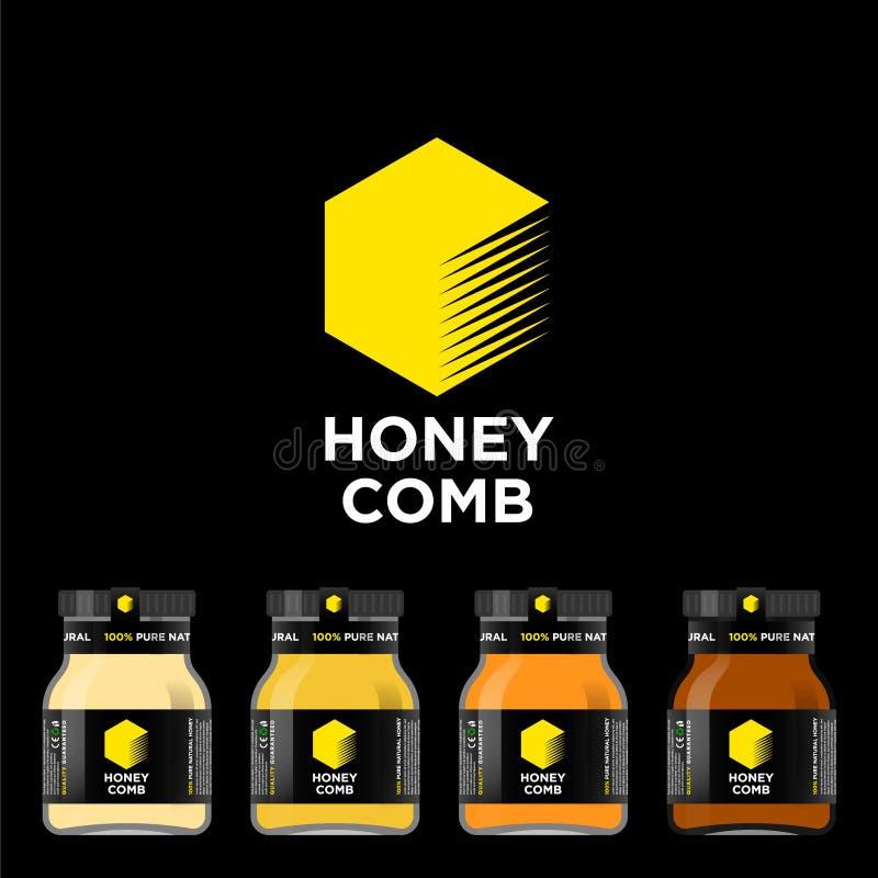 蜂蜜梳子商标 蜂蜜的标签 有标签的大模型玻璃瓶子 向量例证