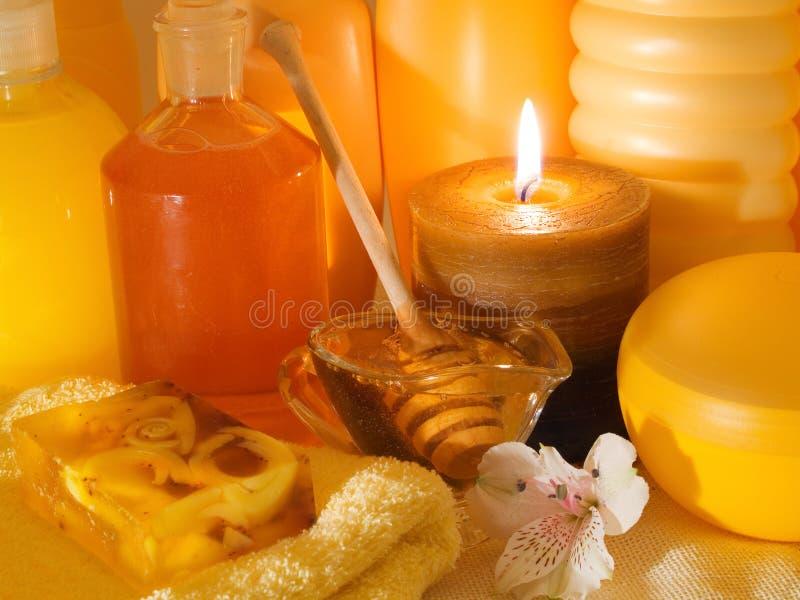 蜂蜜温泉产品 免版税库存照片