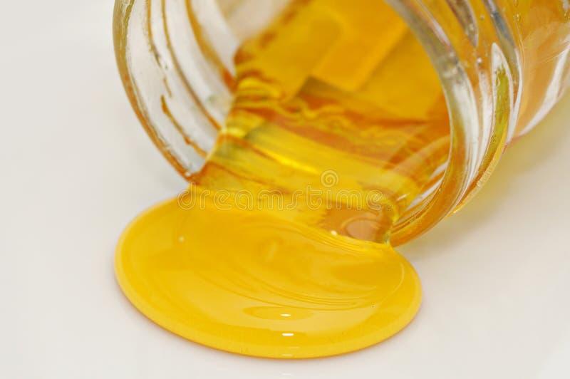 蜂蜜溢出 免版税库存图片