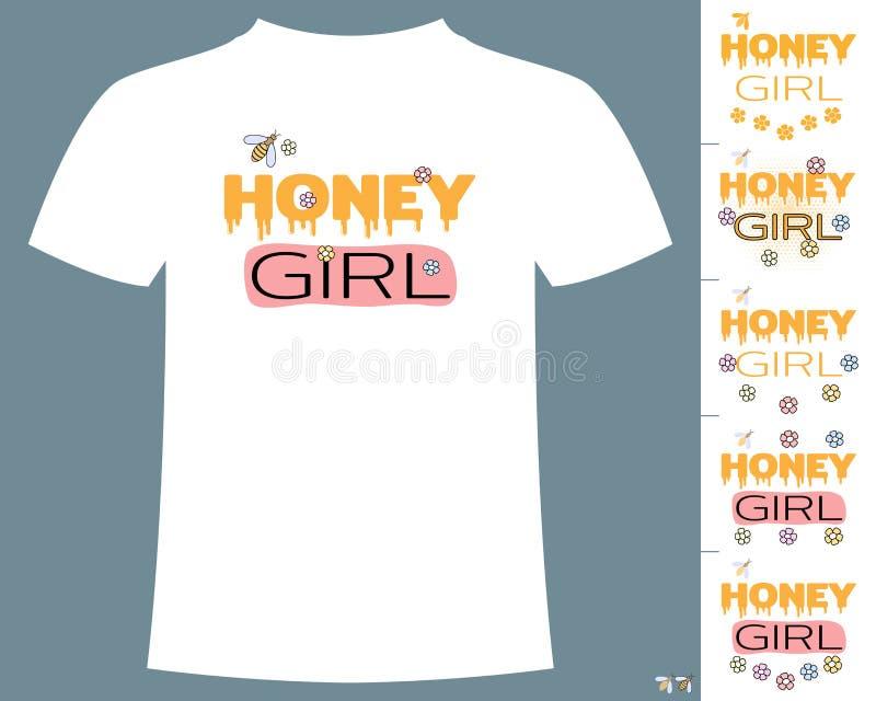 蜂蜜球衣织品印刷术T恤杉设计的女孩口号 在白色背景的传染媒介 皇族释放例证