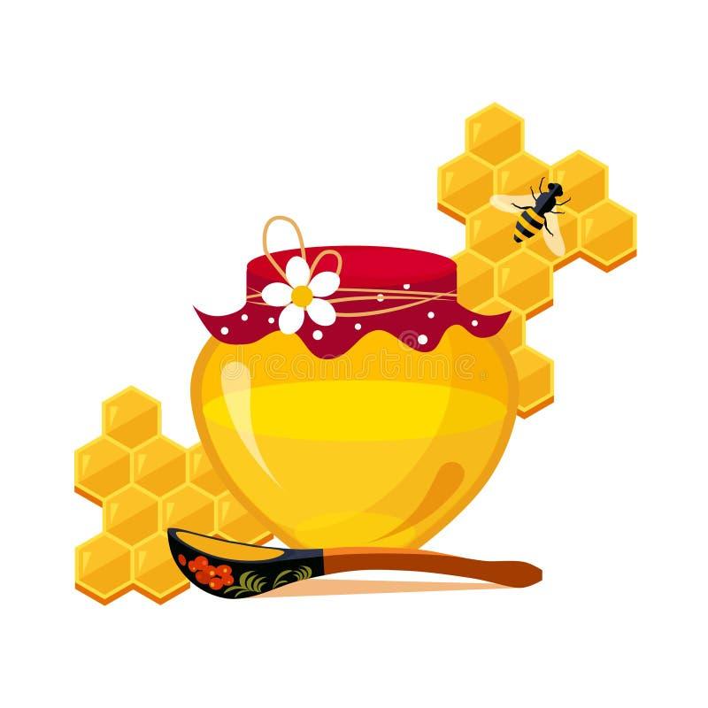 蜂蜜瓶子、匙子和蜂窝与蜂动画片例证 库存例证