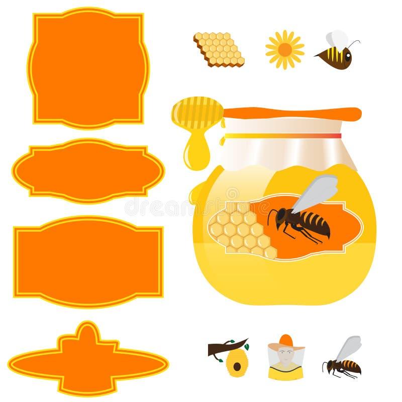 蜂蜜瓶子和标签 皇族释放例证