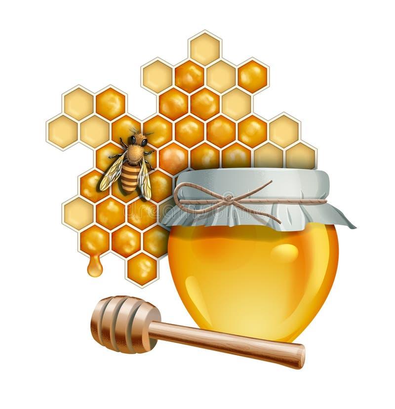 蜂蜜瓶子和蜂 向量例证