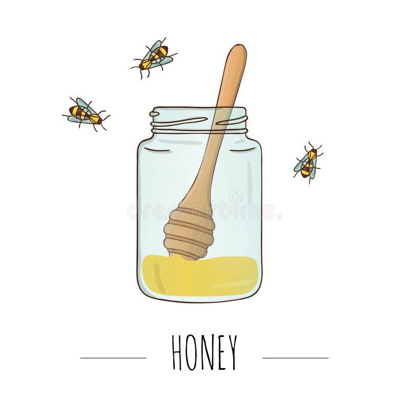 蜂蜜瓶子的传染媒介例证有匙子和蜂的 皇族释放例证