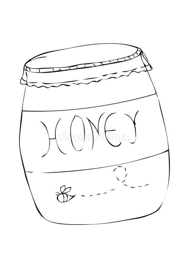 蜂蜜瓶子的黑例证 图库摄影